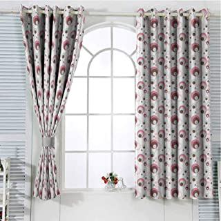 Jinguizi Grommet Window Curtain Bedroom Curtains Geometric,Dotted Pattern Absurd Modern Artwork Circles Various Shapes and Sizes Retro,Pink Umber Beige Doorway Curtain 72 x 45 inch