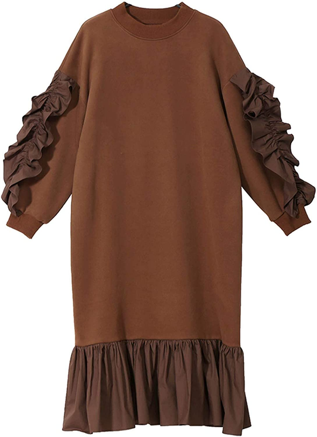 AllAboutUs Women Winter Long Solid Brown Black Dress Long Sleeve with Ruffle Stitched Dress 4591