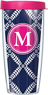 Navy Royal Diamonds on Pink Initial Letter M Traveler 16 Oz Tumbler Mug with Lid