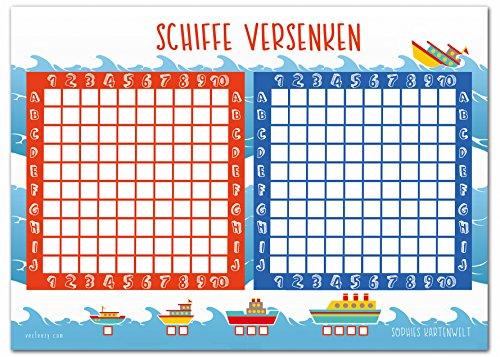 Sophies Kartenwelt Schiffe Versenken Block - 50 Blatt Spielblock - Reisespiel für Jungen und Mädchen aus Papier - Das Flottenmanöver Mitbringspiel