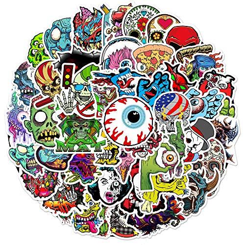 BLOUR 50 Pegatinas de Graffiti de Calavera de Terror DIY Maleta portátil monopatín Pegatinas de Dibujos Animados Impermeables