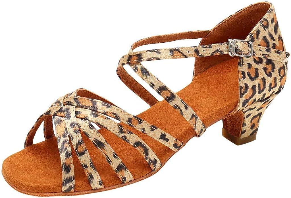 Latin Dance Shoes for Women Open Toe Low Heel Solid Color Ballroom Tango Salsa Dance Shoes Sandals Dress Shoes