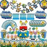 Set of 146Pcs Party Theme Party Supplies Set, Pikachu Birthday Decoration, Party Decoration, Children Carnival Party Supplies Decoration