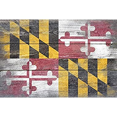 Rustic Maryland State Flag (16x24 SIGNED Print Master Giclee Print w/ Certificate of Authenticity - Wall Decor Travel Poster)