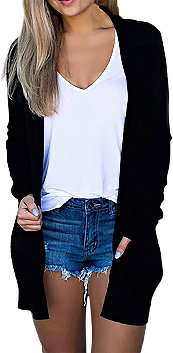 Womens Open Front Cardigan Long Sleeve Casual Knit Cardigan Pockets Sweaters Coat Soft Shrugs Outwear