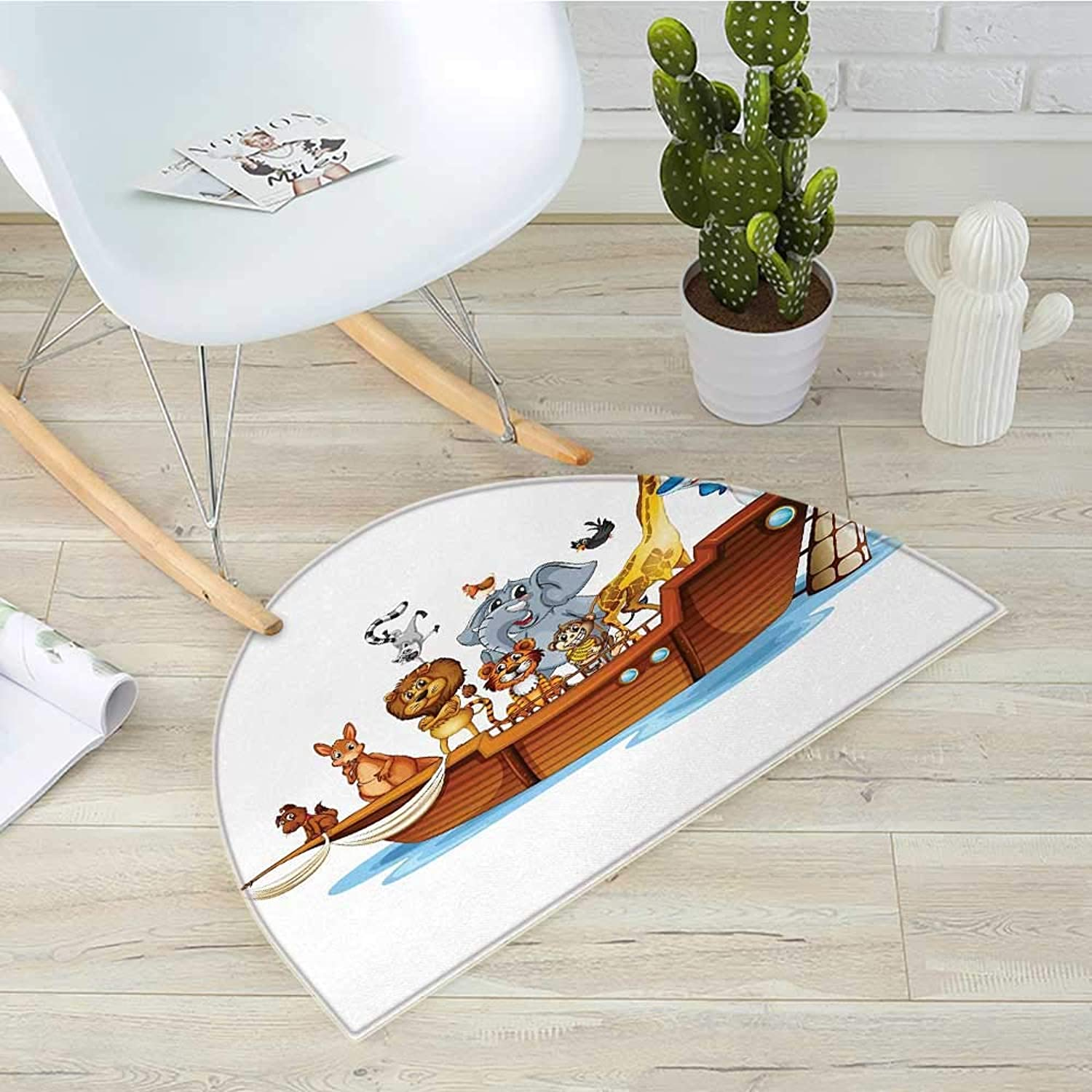 Ark Half Round Door mats Illustration of Many Animals Sailing in The Boat Mythical Journey Faith Giraffe Bathroom Mat H 31.5  xD 47.2  Multicolor
