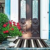 Abreeze Schwarz-weiß gestreifter Teppich, 60 x 90 cm, Baumwolle, gewebt, waschbar, für den Außenbereich im Bauernhausstil