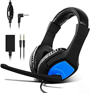 stoga gaming headset for nintendo switch, 3.5mm wired adjustable over-ear headset with bass surround, noise cancellation and microphone ,flexible for pc, ipad, mobile (blue-black)