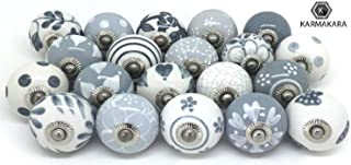 K Karmakara Set of 25 Gray &White Hand pained Ceramic Cabinet knobs. Cabinet drwaer..