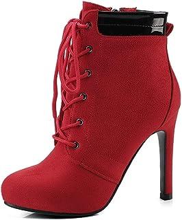 MENGLTX Sandalias Tacones Altos Botines De Mujer Zapatos De Plataforma Finos De Tacón Alto Mujer con Cordones Botas De Moto con Cremallera Sintética