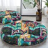 ANTJUMPER - Cojín redondo grande para suelo con diseño de mandala, tamaño grande, redondo, para sala de estar, lectura, cuarto de bebé, balcón, 55,8 cm, color turquesa