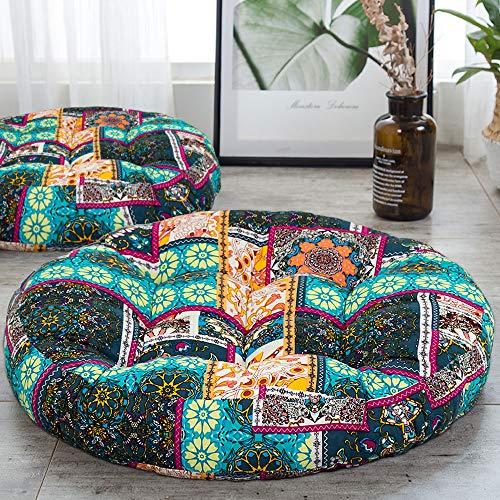 ANTJUMPER Cojín redondo grande para el suelo, con diseño de mandala, grande, redondo, para sala de estar, lectura, guardería, balcón, 55,8 cm, color turquesa
