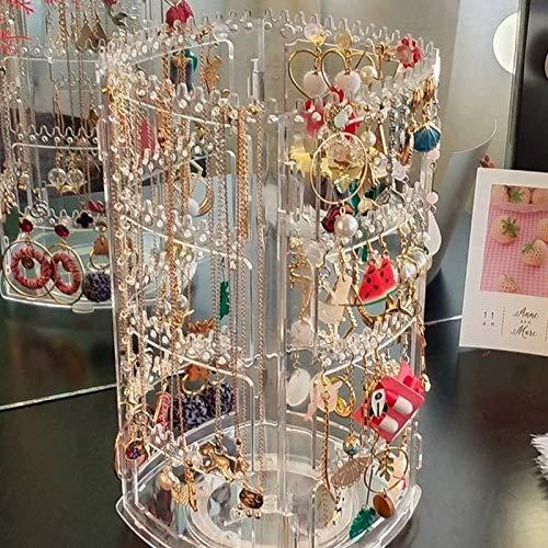 Expositor giratorio de acrílico para joyas, con soporte para pendientes, organizador de joyas transparente