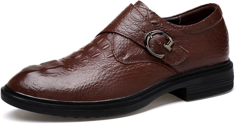 WOJIAO Men's Leather Oxford Dress shoes Business Formal Fashion Modern Black