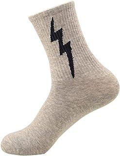 WZDSNDQDY Calcetines de Tubo para Hombre, Calcetines Deportivos Personalizados con Estampado de Rayos, Material de algodón Gris
