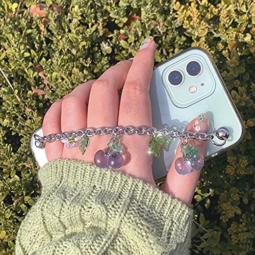 LIUYAWEI Caja de teléfono de Silicona Suave con Cadena de Pulsera de Cereza para Samsung Galaxy S21 S20 PlusUltra FE S10 S9 S8 Pro S6 S7 Edge Lite, TMKH, Azul, para S21 Plus