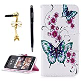 LG K20 V Case, LG K20 Plus/LG Harmony/LG K10 2017 / LG Grace Wallet Case, YOKIRIN Colorful Print Gold Butterfly Pattern Premium Leather Soft TPU Inner Bumper Hand Strap Card Slot Cover Skin Shell