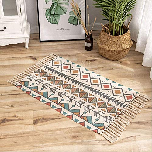 Boho Rugs Colorful Area Rug Small Rugs for Living Room Moroccan Rug with Tassels Geometric Printed 60x90cm Machine Washable Flatweave Rug Runner Carpet for Bedroom, Kitchen, Entryway,Hallway