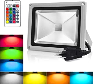 RGB LED Flood Lights, 10W Color Changing Outdoor Spotlight with Remote Control, IP65 Waterproof Wall Washer Light,16 Colors 4 Modes Dimmable Stage Lighting with US 3-Plug