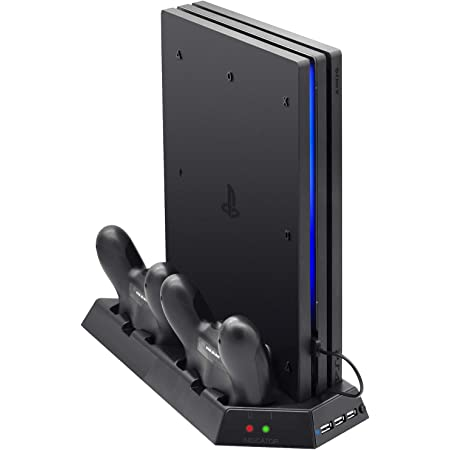 FASTSNAIL Vertical Stand Compatible with PS4 Pro with Cooling Fan, Controller Charging Station Compatible with Playstation 4 Pro, Charger for DualShock 4 Controllers with LED Charging Indicator