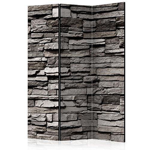 murando Raumteiler Stein-Optik Foto Paravent 135x172 cm einseitig auf Vlies-Leinwand Bedruckt Trennwand Spanische Wand Sichtschutz Raumtrenner grau f-B-0020-z-b