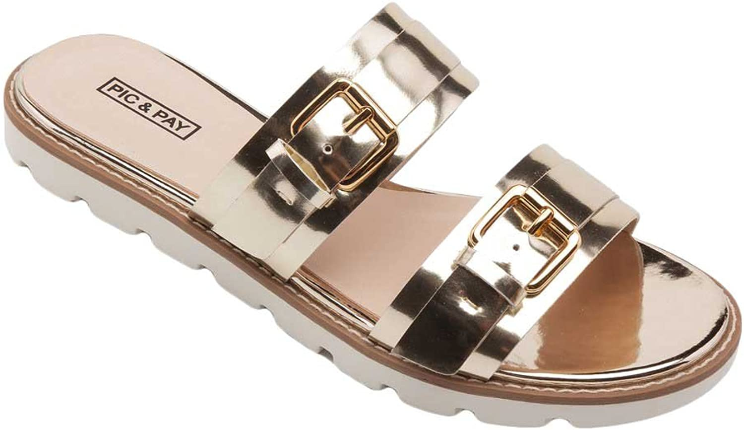 Pic Pay Cairo Women's Sandals - Leather Dual Strap Flat Sandal gold Metallic Leather 6.5M