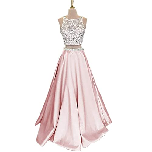 d0b5d222fbe50f MonaBridal Women's Manual Beaded Two Piece Prom Dress Backless Satin  Homecoming Gown VK99