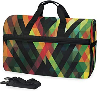 Mens Womens Duffle Bag Geometric Morden Travel Weekender Swim Bags with Shoes Compartment 45L