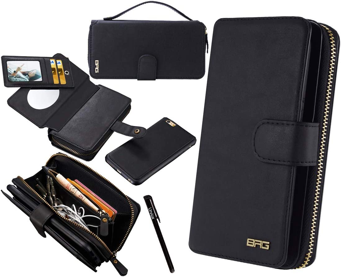 Urvoix for iPhone 6S Plus/iPhone 7 Plus/iPhone 8 Plus Case, Premium Leather Zipper Wallet Handbag Detachable Removable Magnetic Case with Flip Card Holder Cover for iPhone 8Plus/7Plus/6SPlus (5.5