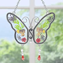 BANBERRY DESIGNS Butterfly Suncatcher with Real Embedded Pressed Flower Wings Window Ornament Decoration Birthday Gift for Mom Grandma Chain for Hanging Metal and Glass 4.25 Inch