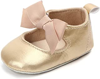 Enteer Baby Girls' Retro Leather Button Mary Jane Shoes