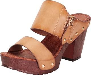 Women's Retro 70s Studded Clog Chunky Platform Block Heel Slide Sandal