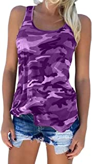 MU2M Womens Tank-Top Summer Fit Slim V-Neck Sleeveless Retro Camo Tank Top Cami Blouse Shirt