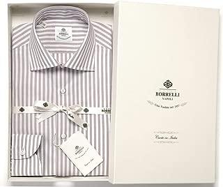 ルイジボレッリ ルイジボレリ LUIGI BORRELLI / 20SS!コットンポプリンストライプセミワイドカラーシャツ「LUCIANO(9011)」 (ホワイト×ベージュ) メンズ