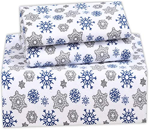 Ruvanti 100% Cotton 4 Piece Flannel Sheets King Snow Flake Print Deep Pocket -Warm-Super Soft - Breathable Moisture Wicking Flannel Bed Sheet Set King Include Flat Sheet, Fitted Sheet 2 Pillowcases