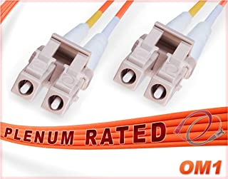 FiberCablesDirect - 3M OM1 LC LC Fiber Patch Cable   1G Plenum Duplex 62.5/125 LC to LC Multimode Jumper 3 Meter (9.84ft)   Length Options: 0.5M-300M   Made In USA   1/10g mmf dx sfp 1gbase ofnp lc-lc