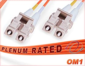 FiberCablesDirect - 4M OM1 LC LC Fiber Patch Cable | 1G Plenum Duplex 62.5/125 LC to LC Multimode Jumper 4 Meter (13.12ft) | Length Options: 0.5M-300M | Made In USA | 1/10g mm dx sfp 1gbase ofnp lc-lc