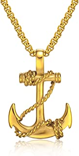 Nautical Anchor Necklace Mens Stainless Steel Pirate Navy Anchor Pendant with Chain 21.6 inch