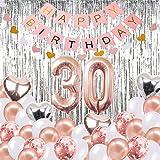 30. Geburtstag Dekorationen Banner Ballon, alles Gute zum Geburtstag Banner, 30. Rose Gold Anzahl Luftballons, Nummer 30 Geburtstag Luftballons, 30 Jahre alt Geburtstag Dekoration Lieferungen -