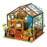 Robotime DIY Dollhouse Wooden Miniature Furniture Kit Mini Green House with LED Best...