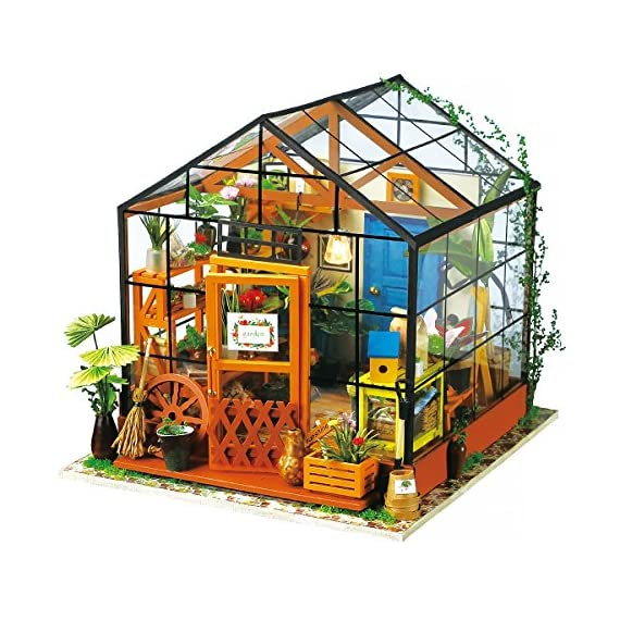 Rolife Dollhouse DIY Miniature Room Kit-Handmade Green House-Home Decoration-Miniature Model to Build-Christmas Birthday… 1 【Exquisite Mini House and Eco-Friendly Materials】Our diy mini doll house is very well made, using a miniature scale of about 1:24. All pieces are in seperate bags and a colourful step by step instruction book is included, which is a joy to read and very clear.The materials in the kit are eco-friendly, have no burrs.The paint is odorless and can also be easily washed out by water 【DIY Model Kits and A Handmade Toy】This wood model kits will make you fall in love with arts and crafts and become fulfilled. Inside the furniture suite are easy to stitching, Even if you are a beginner, follow the steps to do it will not be too hard. You can give yourself a plan, spend two hours a day to assemble, stick to it, not only develop good habits, but also make a surprise toy house 【Be Patience and Feel Amazing】To build it, patience is the ultimate key to success.It can be assembled with family, friends and lovers to experience the pleasure of hands-on.A sense of accomplishment will come when it is finished.You can redecorate it and add in your new creation.After turning on the light, it makes a comfy, cute room to look at once and awhile