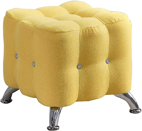 Upholstered Footrest Footstool Ottoman Makeup Stool Wooden Yellow Change Shoes For Kids Adults For Indoor And Outdoor Max Load 150KG High 40cm