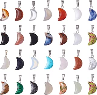 FASHEWELRY 50PCS Crescent Moon Shaped Charm Natural Stone Pendant with Silver Plated Brass Bail Chakra Healing Point Reiki Charm Bulk for Jewelry Making