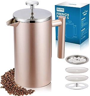 SULIVES フレンチプレス 1000ml コーヒー プレス ステンレス コーヒーメーカー 珈琲 紅茶 真空二重構造 (シャンパン)