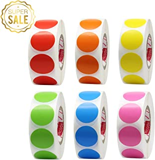 Hcode 1 Inch Color Coding Label Garage Sale Stickers Blank Yard Sale Price Stickers Round Colorful Stickers Permanent Adhesive Dots Writable Paper Labels 6000 Pieces (6 roll, Multicolor)