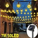 Guirlande Solaire Exterieure, 7M 50 LED Guirlandes Lumineuses Boules 8 Modes Etanche lampe solaire exterieu Décorative pour Soirée, Mariage, Jardin, Magasin, Maison Extérieure, blanc chaud