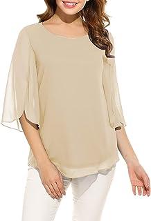 9dbd8877 Oyamiki Womens Half Sleeve Layered Flowy Chiffon Blouses Round Neck Top  Shirts