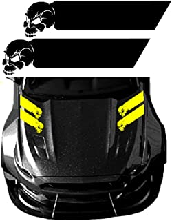 SKULL Fender Hood Hash Mark Bars Vinyl Racing Stripes Graphic Decals 5