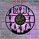 FDGFDG Michael Jackson Vinyl Music Record Reloj de Pared con iluminación LED Decoración Interior Personalizada Vintage Hecho a Mano 3D Wall Art