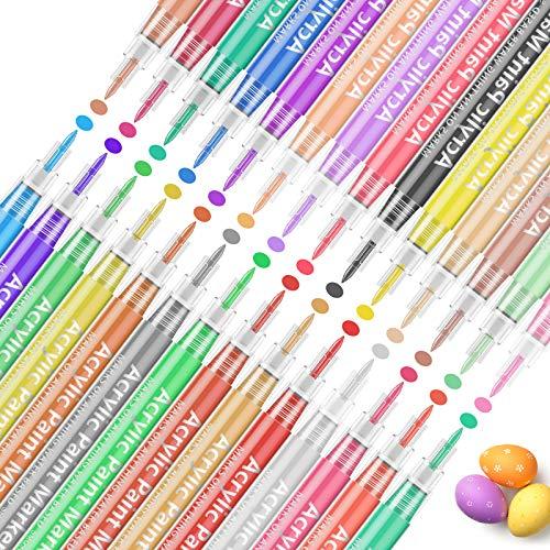 Peinture Acryliques Stylos 28 Couleurs, Bellababy Marqueur Peinture Acrylique Set pour la Peinture de Roches, Tissu, Bois, Toile, Céramique, Fournitures de Scrapbooking, Bricolage
